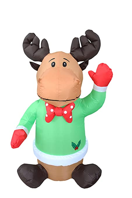 4 foot christmas inflatable sitting reindeer yard blow up art decoration - Moose Christmas Yard Decorations