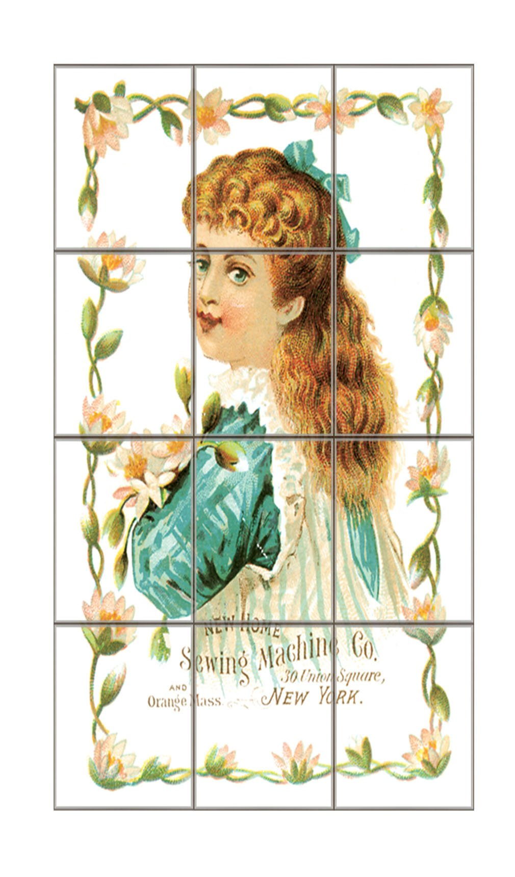 New Home Sewing Machine Co Old Poster #2 Vertical Tile Mural Satin Finish 16''Hx12''W 4 Inch Tile
