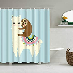 Shower Curtain Set with Hooks Cute Sloth on the Back of Llama Lovely Alpaca Blue White Turquoise Pink Brown Bathroom Decor Waterproof Polyester Fabric Bathroom Accessories Bath Curtain 60 x 72 inches