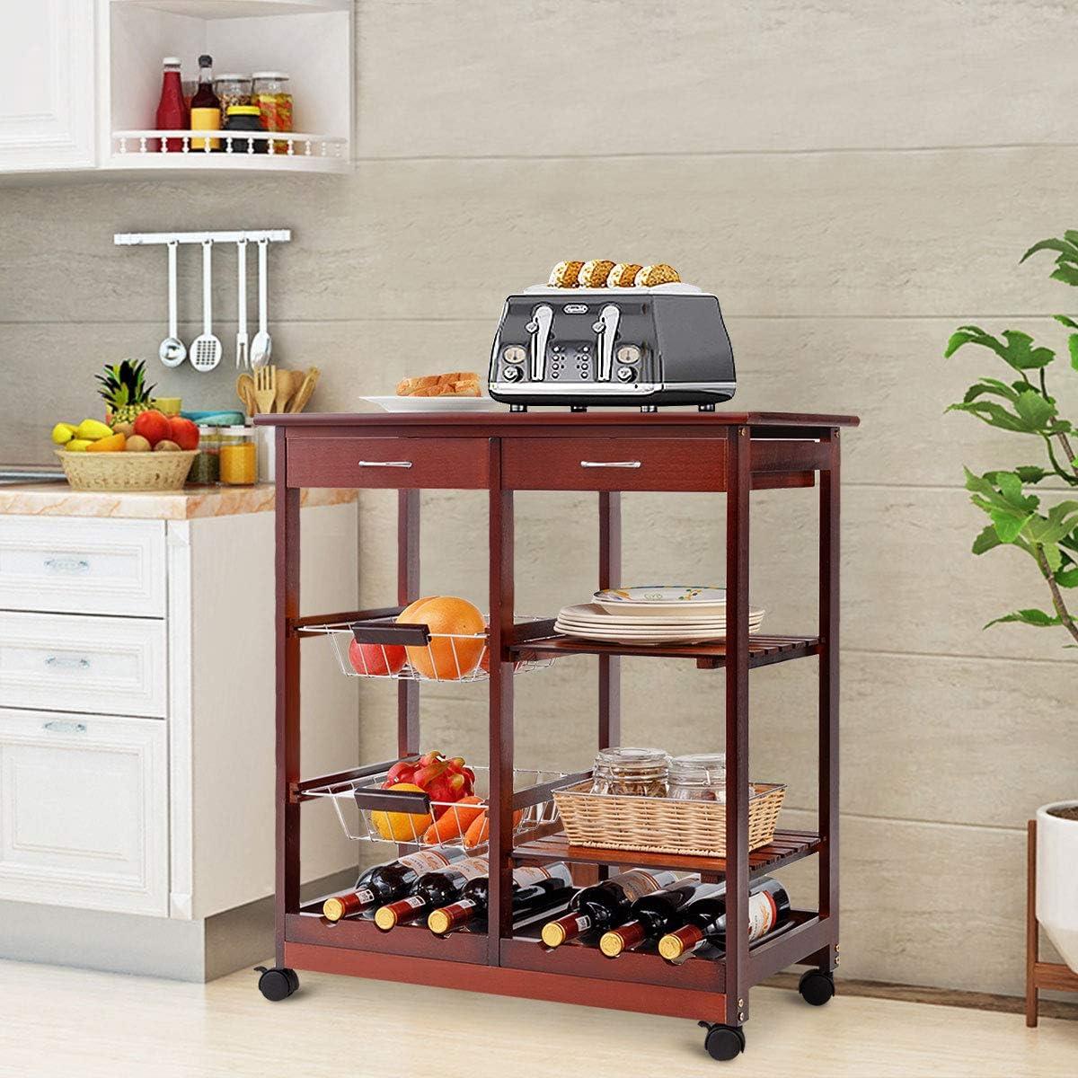 DREAMADE Carrello da Cucina con 2 Portabottiglie Carrello da Cucina in Legno con 2 Cassetti 67x37x76cm Bianco