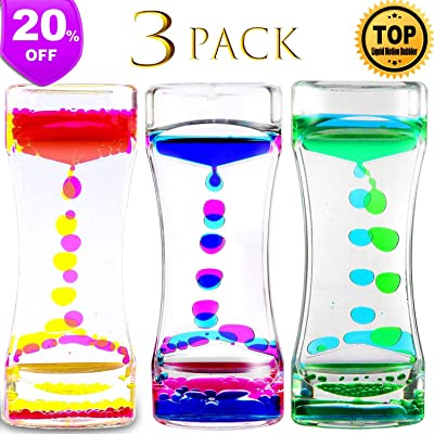 S.SUPERLOVE 3 Pack Liquid Motion Bubbler Timer Sensory Calming Fidget Toy Autism Community Toys for Kids Teenager Adults: Sports & Outdoors