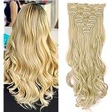 S-noilite® Set 8pcs 43cm extension capelli clip nelle estensioni dei capelli della parte dei capelli ondulato o liscio pieno Testa vari colori bionda candeggina