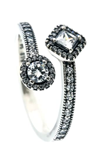 6e90fbc83 Image Unavailable. Image not available for. Color: PANDORA Abstract  Elegance Ring, Clear CZ ...