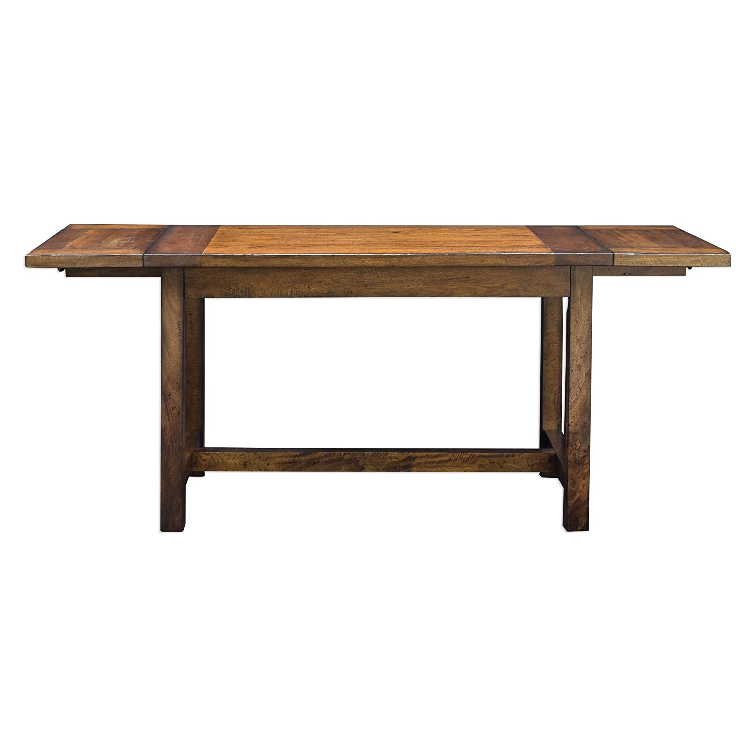 Amazon com my swanky home rustic antique style oak wood dining table drop leaf 6 seat adjustable kitchen tables