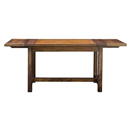 My Swanky Home Rustic Antique Style Oak Wood Dining Table Drop Leaf 6 Seat Adjustable Kitchen