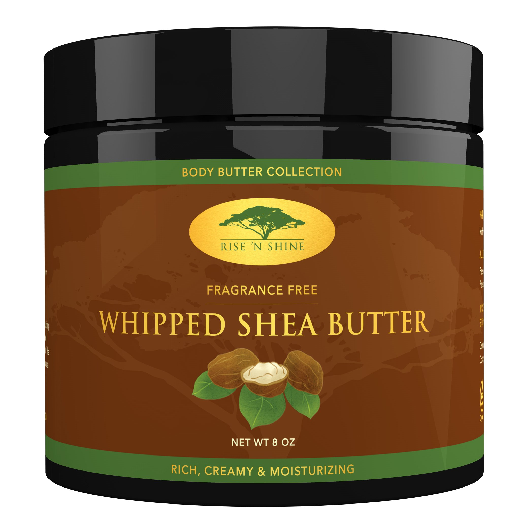 Whipped African Shea Butter Cream - Pure 100% All Natural Organic Moisture for Soft Skin and Natural Hair - Body Butter Improves Blemishes Stretch Marks Scars Wrinkles Eczema & Dermatitis (8 oz) by Rise 'N Shine Online