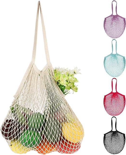 AIM Cloudbed 5 unidades bolsa de compras reutilizable de malla de algodón, bolsa de malla de algodón lavable con asa, perfecto para compras, embalaje y almacenamiento al aire libre: Amazon.es: Hogar
