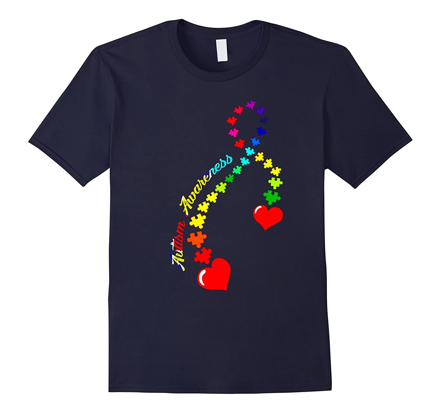 Autism Awareness T-Shirt Gifts Rainbow Puzzle Heart Tee-CD