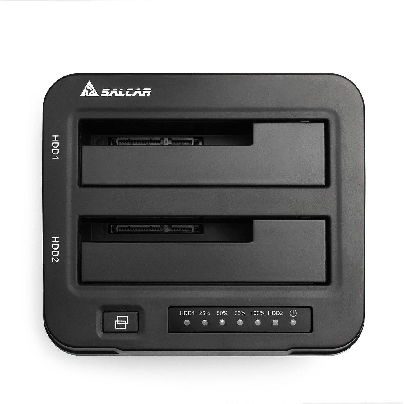 SALCAR Base de conexión Docking Station Aluminium USB 3.0 con función de clon Offline y 2 bahias (Plata): Amazon.es: Electrónica