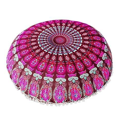 Fundas De Cojines, India Large Mandala Floor Pillow Cómodo Home Car Bed Sofa Large Mandala Floor Pillows Round Bohemia Meditación Cojín Otomano Puff ...