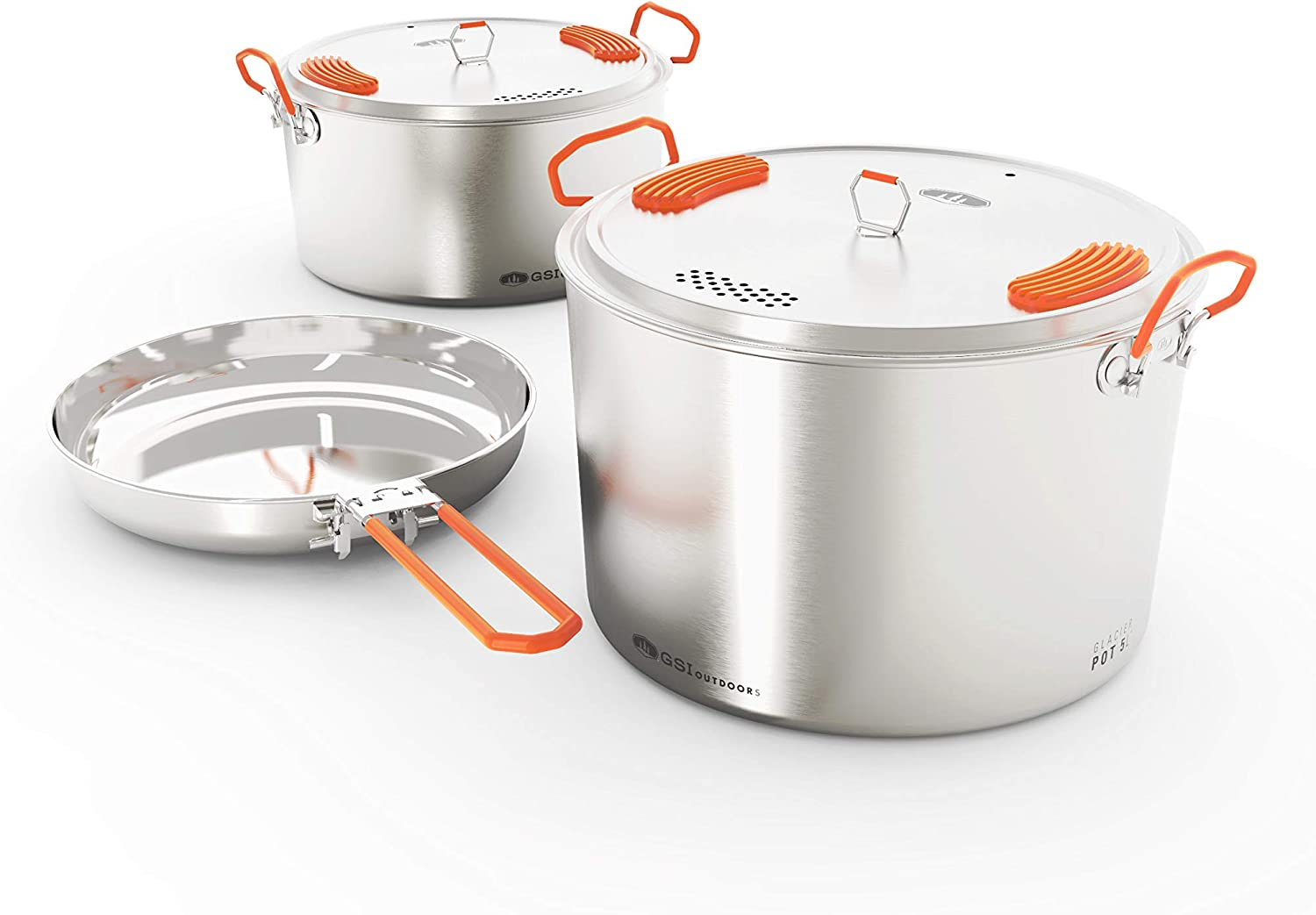 GSI Outdoors Stainless Base Camper - 3 Piece Cookset for Camping and Outdoors