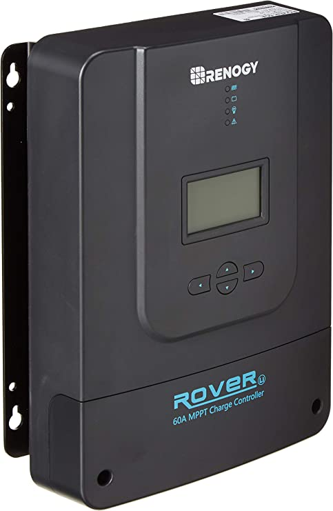 Renogy Rover Li 100 Amp 12//24//36//48V DC Input MPPT Solar Charge Controller Auto Parameter Adjustable LCD Display Solar Panel Regulator fit for Gel Sealed Flooded and Lithium Battery Renewed