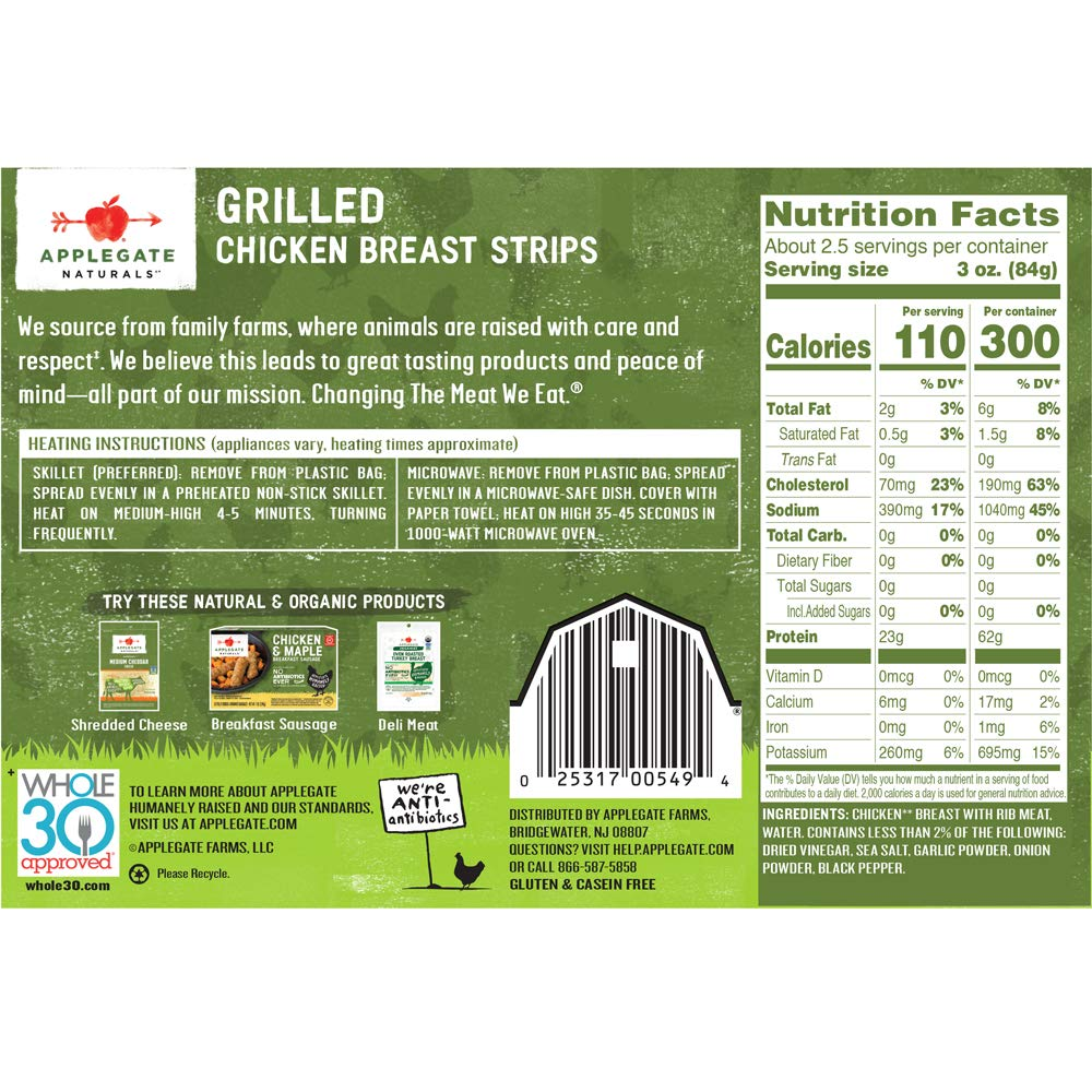 Applegate Natural Grilled Chicken Breast Strips 8oz Amazon Com