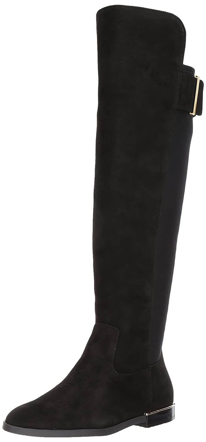Calvin Klein Women's Priya Over The Knee Boot B074CKYN6H 9.5 M US|Black Suede/Stretch