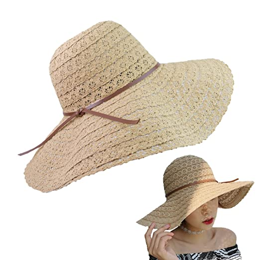 Women Summer Beach Sun Hats Foldable Floppy Packable UV Hat Knit Braided  Trim Vented Cotton Wide 16afe7a74c7