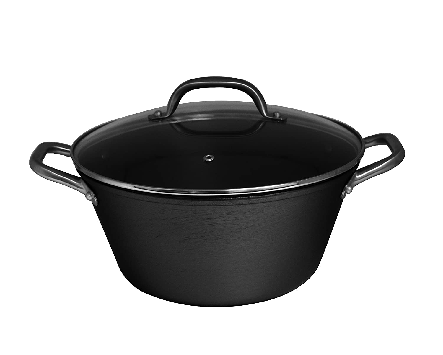 IMUSA USA LCI-19009 Light Cast Iron Dutch Oven with Stainless Steel Handle 6.2-Quart, Black