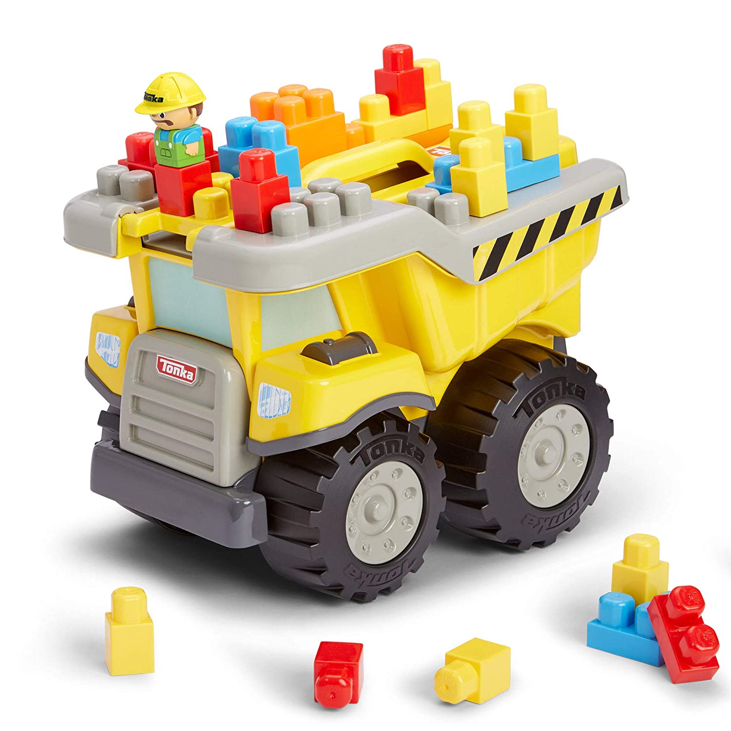 Amazon.com: Tonka Tow and Go Large Dump Truck with Building Blocks: Toys &  Games