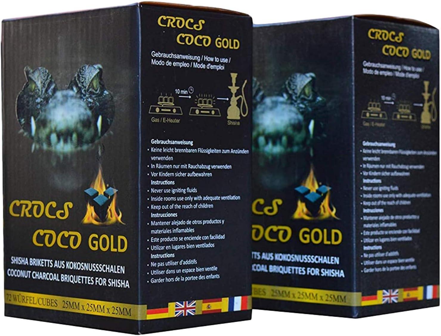 Cross Coco Gold I carbón para shisha I carbón de coco con larga duración I pocas cenizas I baja generación de humo I carbón natural sostenible I Cubo de shisha con calidad premium I 2 kg