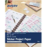 Avery Printable Sticker Paper, Matte Clear, 8.5 x 11 Inches, Inkjet Printers, 3 Sheets (53203)