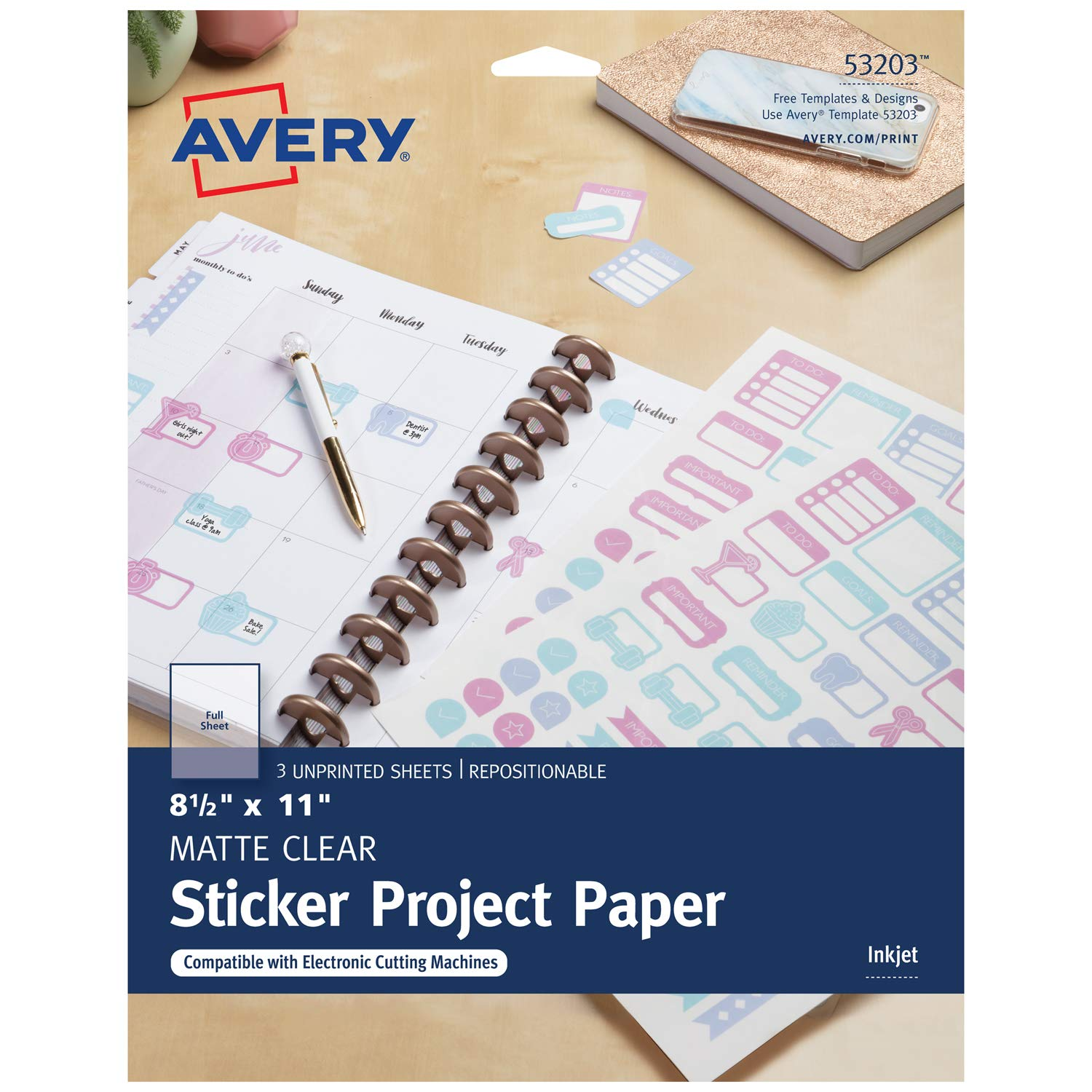 graphic about Printable Sticker Sheet called Avery Printable Sticker Paper, Matte Very clear, 8.5 x 11 Inches, Inkjet Printers, 3 Sheets (53203)