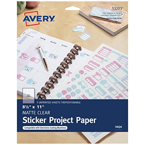 image about Avery Printable Stickers identified as Avery Printable Sticker Paper, Matte Distinct, 8.5 x 11 Inches, Inkjet Printers, 3 Sheets (53203)