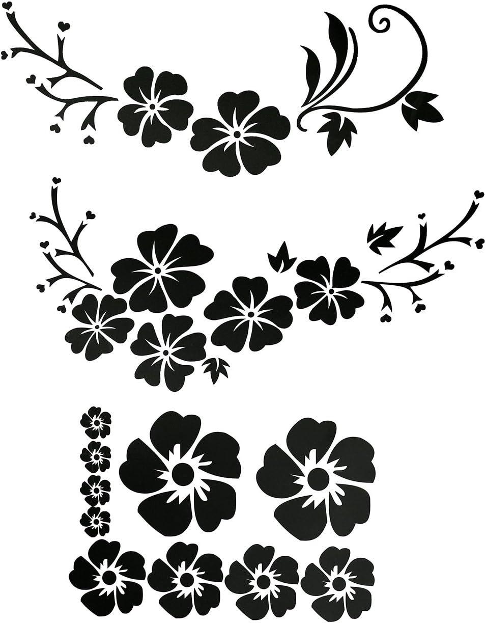 Acbungji Hibiskus Autoaufkleber Blumen Blumenaufkleber Autotattoos Selbstklebend Aufkleber Fenster Schwarz Weiß Wasserfest Schwarz Blume Auto
