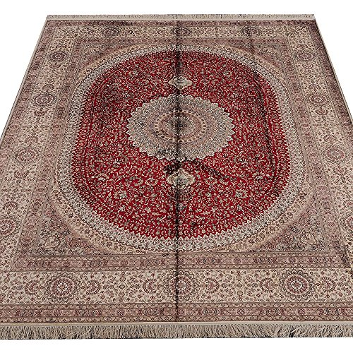 Yilong 8'x10′ Red Nain Silk Carpet Handmade Oriental Persian Home Area Rugs