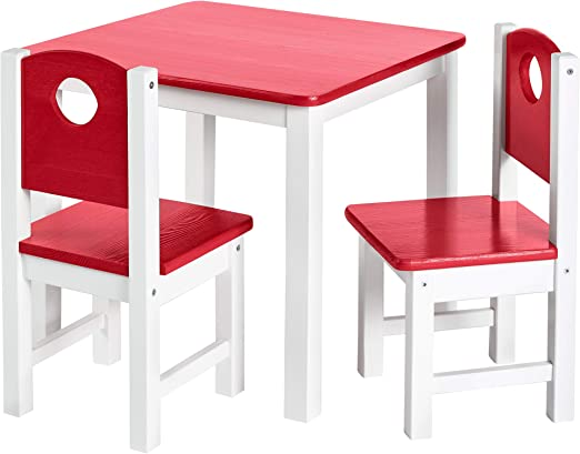 Kindersitzgruppe Kindermöbel Set In Rot 1 Tisch Und 2 Stühle Top Möbel Qualität Aus Kiefer Massivholz Kindertisch Und Kinderstühle Für Jungen