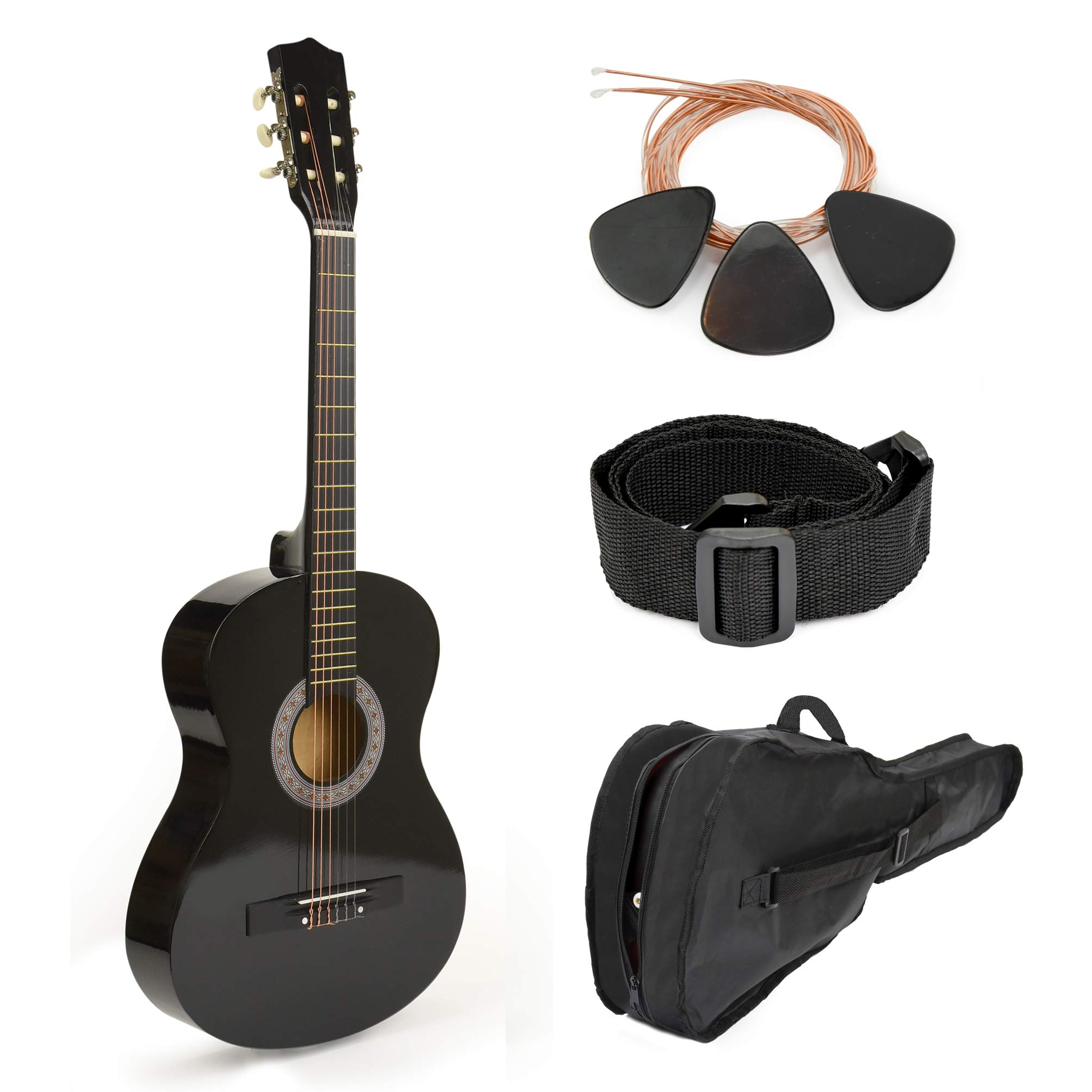 30'' Black Wood Guitar With Case and Accessories for Kids/Boys/Beginners