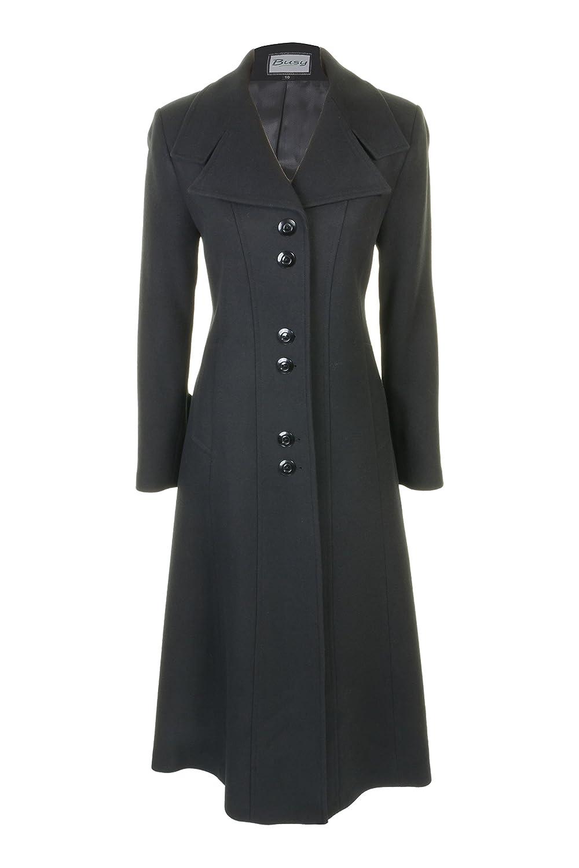 Busy Clothing Womens Black Long Wool Blend Coat
