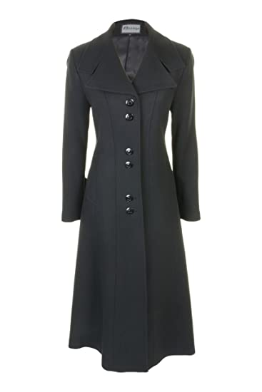 19b0c61369b Busy Clothing Womens Black Long Wool Blend Coat  Amazon.co.uk  Clothing