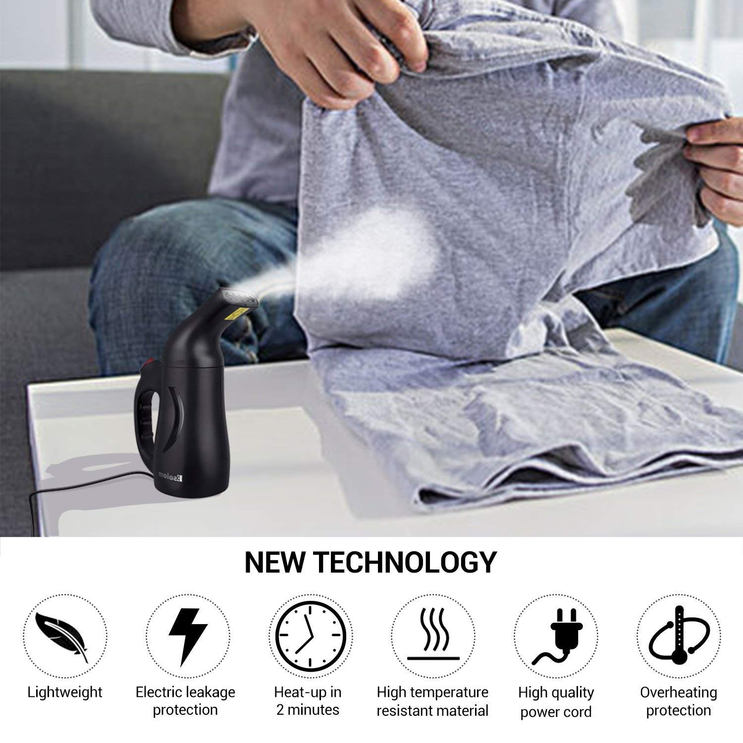 Handheld Clothes Steamer, ESOLOM Portable Travel Garment Steamer for Clothes Hand Steamer Wrinkle Remover with Automatic Shut-off and Fast Heat-up Function Safe Use for Travel and Home, 130ml-Black by ESOLOM (Image #3)