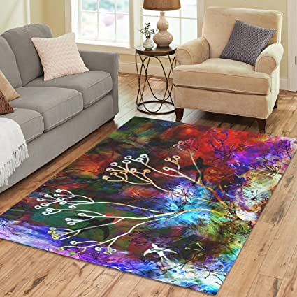 Amazon Fantasy Design Branches And Swallows Area Rug 7x5Custom Soft Carpet For Living Room Bedroom Home Decoration Kitchen Dining