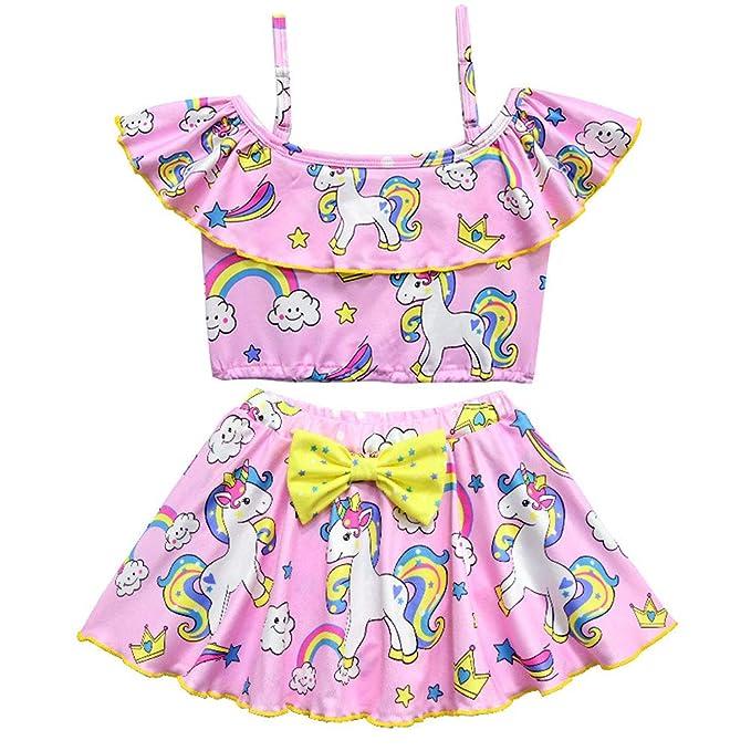 Amazon.com: CLanItris traje de baño de dos piezas para niña ...