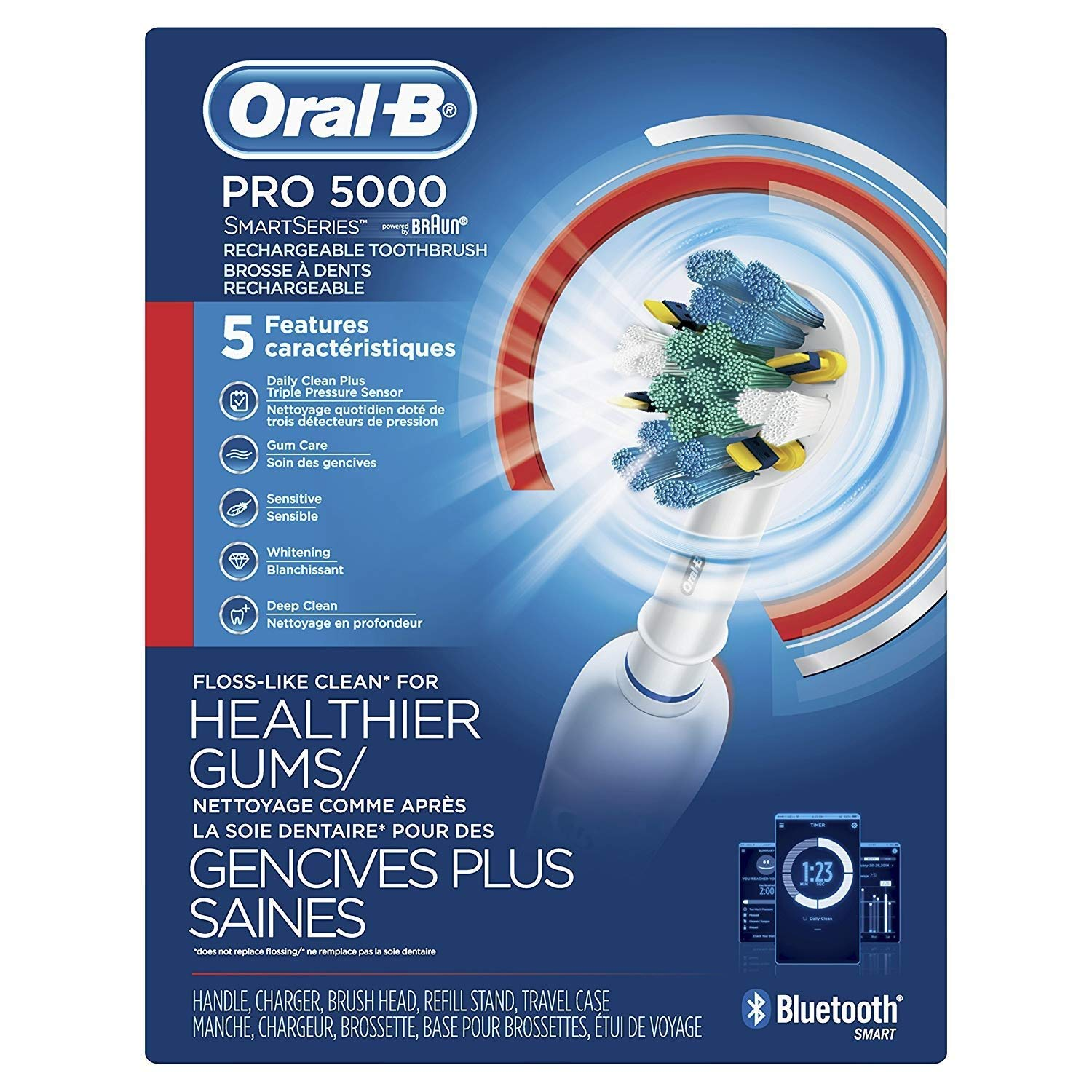 Oral-B Pro 5000 SmartSeries Power Rechargeable Electric Toothbrush with Bluetooth Connectivity, Amazon Dash Replenishment Enabled by Oral-B