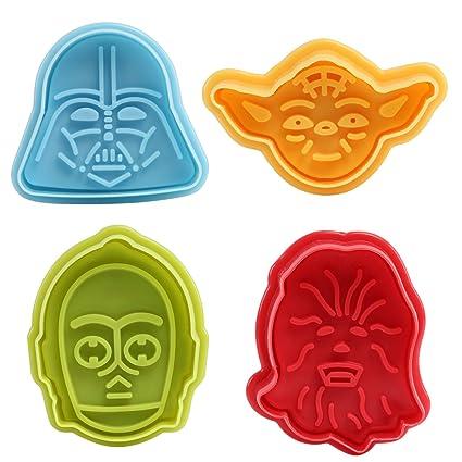 GWHOLE Juego de 4 piezas Star Wars Cookie Cutters plungers molde para Fondant y Sugarcraft moldes