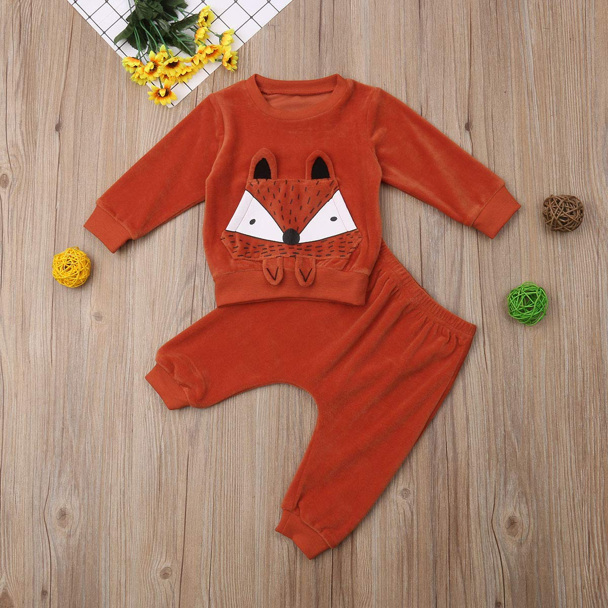 Toddler Newborn Baby Boys Girls 2Pcs Warm Cute Fox Tops T-Shirt Long Pants Outfit