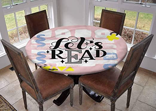 Amazon Com Elastic Edged Waterproof Table Cover Tablecloths Kitchen Decor Fits For Round Tables Book Lets Read Phrase Pastel Round Tablecloth Diameter 79 Home Kitchen