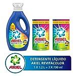 Ariel Revitacolor Detergente Líquido 1.2 litrs con 2 Refills de 700 ml Con U, 2.6 litros, Pack of 1