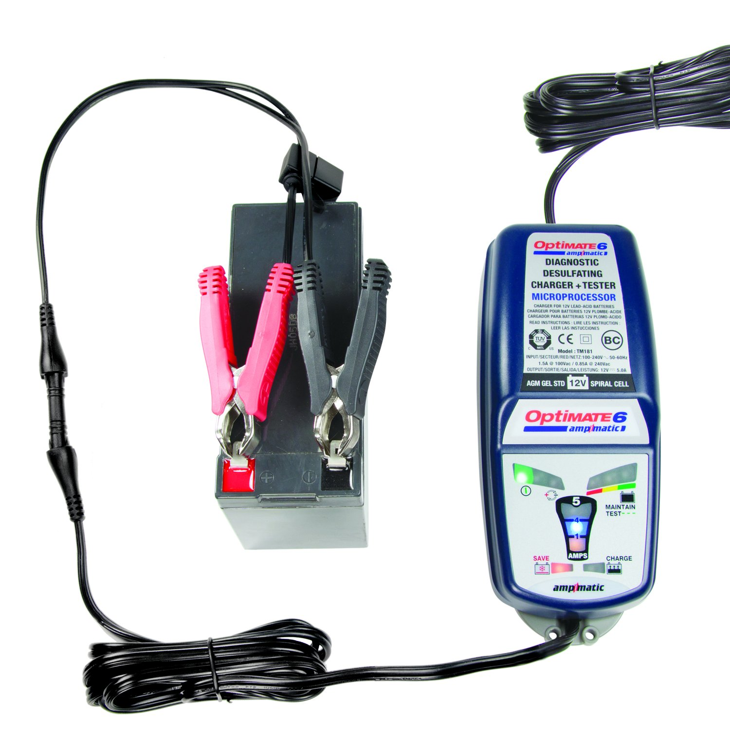 Optimate 6 Ampmatic Tm 181 9 Step 12v 5a Battery Desulphation Progress Monitor Saving Charger Tester Maintainer Automotive