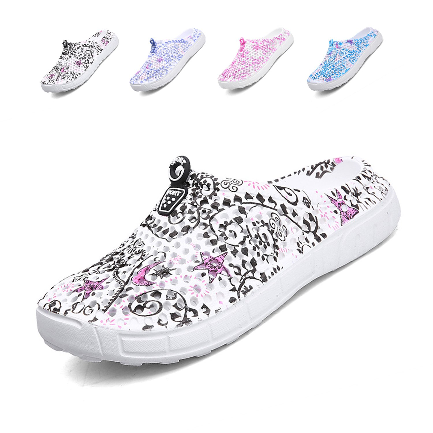 Unisex Quick-Dry Garden Clogs Shoes Comfort Walking Sandals Slippers Non-Slip Beach Shower Water Shoes Black Star 41