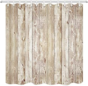 JAWO Rustic Decor Shower Curtain, Brown Wood Plank Wall Texture Background Bathroom Curtain, Polyester Fabric Bath Curtains with Hooks 69W X 70L Inches