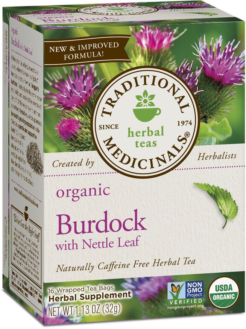 Traditional Medicinals Organic Burdock with Nettle Herbal Leaf Tea, 16 Tea Bags