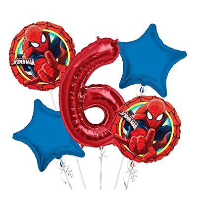 Spiderman Balloon Bouquet 6th Birthday 5 pcs - Party Supplies: Toys & Games