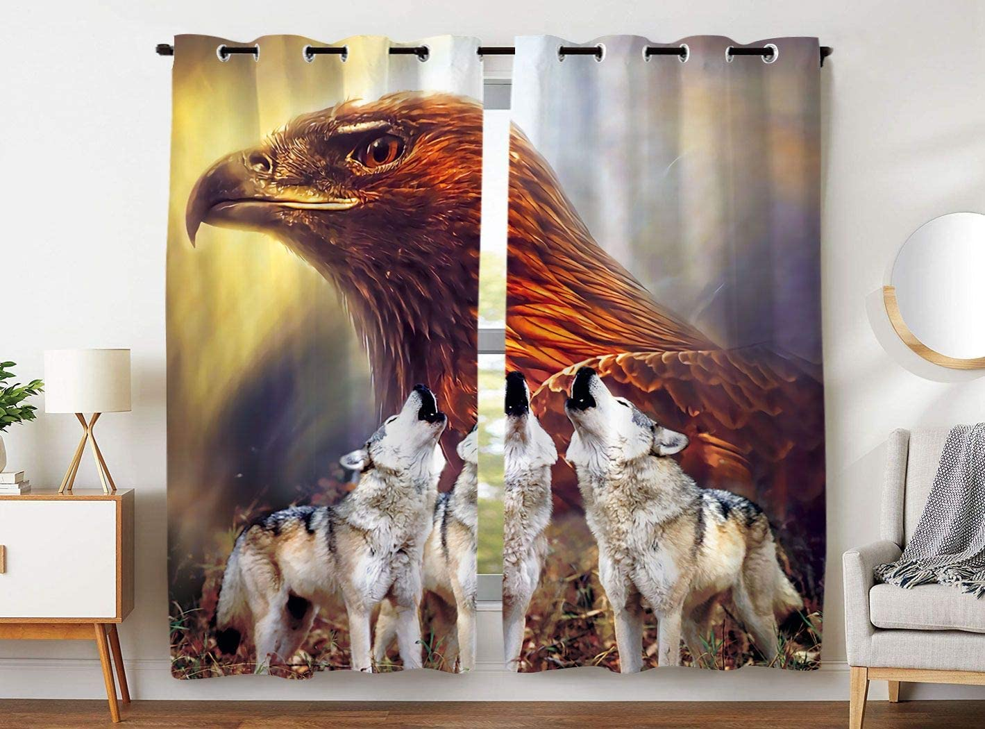 HommomH 54 x 84 Inch Wolf and Eagle Curtains (2 Panel) Grommet Top Blackout Shade Bedroom Machine Washable Eagle Head and Howling Wolf