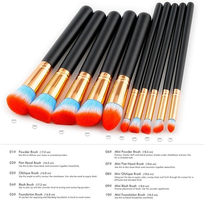 Sharplace 10 Pezzi di Spazzole Pennelli di Trucco Applicazione per Fondamento, Liquido, Minerale, Crema