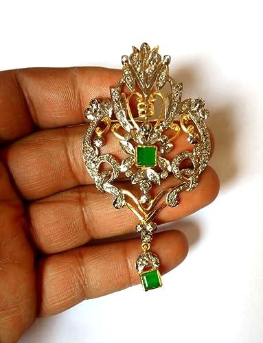 9f4d847ee81 Amazon.com  Rose Cut Genuine Diamond Brooch Oxidized   Gold Finish ...