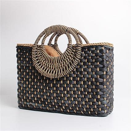 e28bb9cbe49 LAIHUIBAO an Style Bag Holiday Creative Weave Bamboo Handle Tote Women Big  Shoulder Bag Rattan Straw Handbag Travel Basket Bag