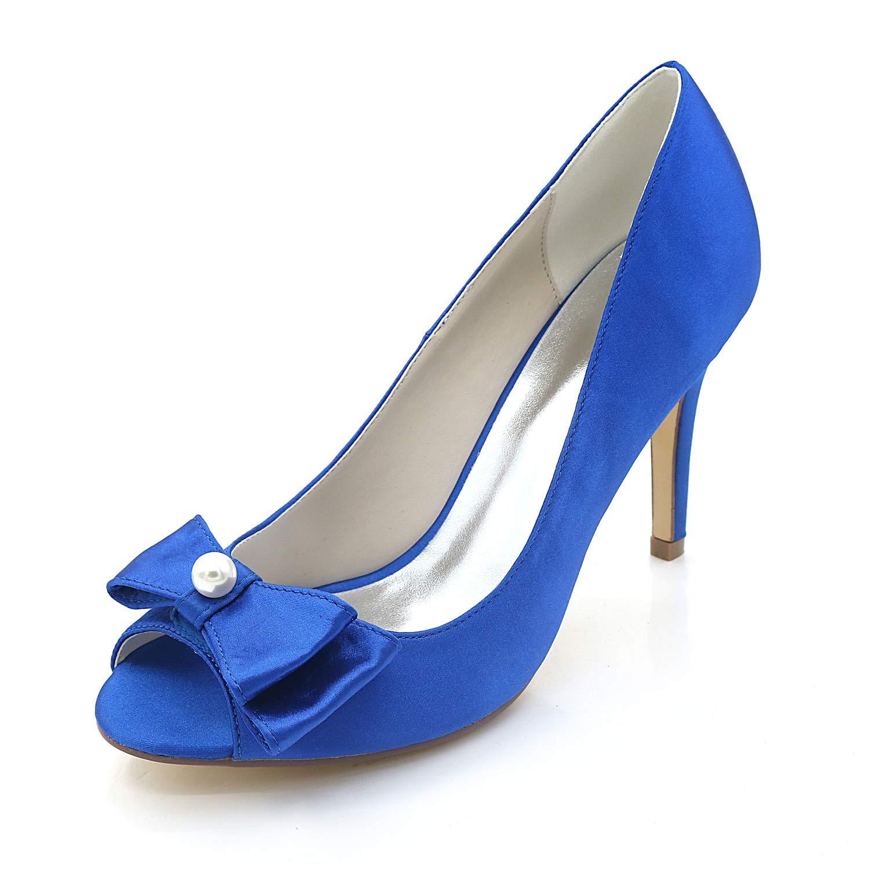 bleu JRYYUE Chaussures Chaussures Chaussures de Mariage pour Femme Satin Peep Toe Sandales Talons Hauts Chaton Stiletto 9CM Femmes Chaussures de Mariée de Mariage 0f5