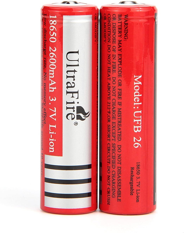 Ultrafire Batería Recargable 18650 3 7 V 2600 Mah Botón De Iones De Litio 2 Unidades Amazon Es Electrónica